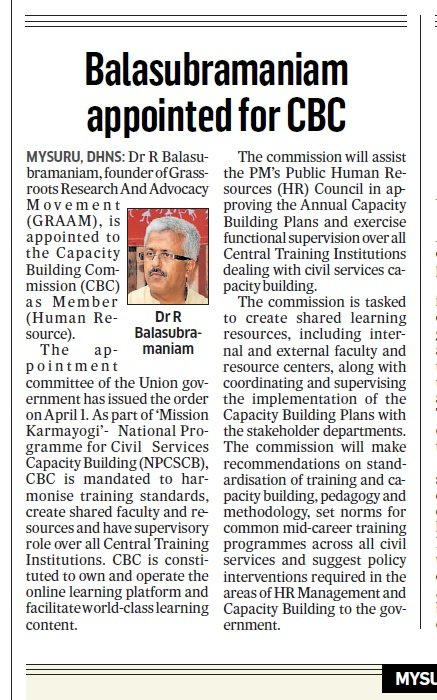 Dr. R. Balasubramaniam appointed as a member of Capacity Building Commission
